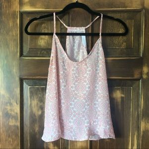 LUSH Pink Patterned Open Back Tank Top